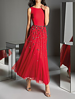 cheap -A-Line Jewel Neck Ankle Length Polyester Elegant / Red Wedding Guest / Formal Evening Dress with Pleats / Crystals / Sequin 2020