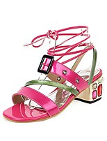 cheap -Women's Sandals Chunky Heel Open Toe Buckle PU Vintage / Minimalism Spring & Summer Fuchsia / Green / Party & Evening / Color Block