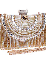 cheap -Women's Crystals / Tassel Polyester / Alloy Evening Bag Color Block Black / Gold / Silver