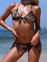 cheap -Women's Brown Tankini Swimwear Swimsuit - Leopard S M L Brown