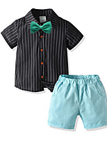 cheap -Kids Boys' Basic Birthday Party Party & Evening Striped Short Sleeve Regular Regular Clothing Set Black