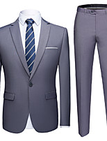 cheap -Tuxedos Tailored Fit Slim Notch Single Breasted One-button Polyester Solid Colored / British / Fashion