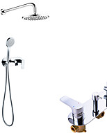cheap -Rainfall Shower System Set - Handshower Included Rainfall Shower Contemporary Chrome Wall Mounted Brass Valve Bath Shower Mixer Taps with ABS Plastic Shower Head