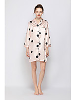 cheap -Women's Cut Out / Mesh Chemises & Gowns / Robes / Satin & Silk Nightwear Jacquard / Solid Colored Blushing Pink S M L