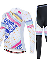 cheap -EVERVOLVE Women's Long Sleeve Cycling Jersey with Tights Polyester Blue / White Polka Dot Plaid / Checkered Geometic Bike Clothing Suit Thermal / Warm Breathable 3D Pad Quick Dry Sweat-wicking Sports