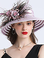 cheap -Vintage Style Fashion Tulle / Organza Hats / Headwear with Feather / Flower / Trim 1 Piece Wedding / Outdoor Headpiece