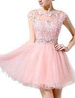 cheap -A-Line Illusion Neck Short / Mini Polyester Hot / Pink Homecoming / Cocktail Party Dress with Beading / Appliques 2020
