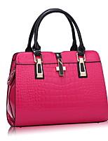 cheap -Women's Zipper PU Top Handle Bag Solid Color Black / Wine / White