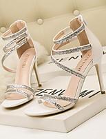 cheap -Women's Sandals Crystal Sandals Stiletto Heel Round Toe PU Spring & Summer White / Black