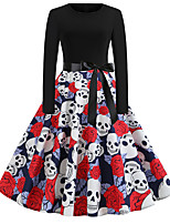 cheap -Women's Black Dress Active Street chic Party Daily Swing Print Patchwork Print S M / Cotton