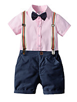 cheap -Kids Boys' Basic Birthday Party Party & Evening Solid Colored Short Sleeve Regular Regular Clothing Set Blushing Pink