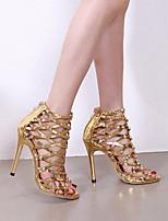 cheap -Women's Heels Stiletto Heel Round Toe PU Spring & Summer Gold