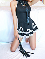 cheap -Women's Lace / Backless / Bow Suits Nightwear Jacquard / Solid Colored Black One-Size