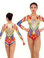 cheap -Rhythmic Gymnastics Leotards Artistic Gymnastics Leotards Women's Girls' Leotard Red Spandex High Elasticity Handmade Jeweled Diamond Look Long Sleeve Competition Dance Rhythmic Gymnastics Artistic