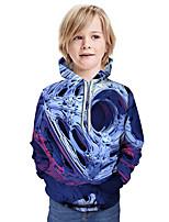 Недорогие -Дети Мальчики Активный Классический Контрастных цветов 3D Длинный рукав Худи / толстовка Синий