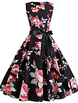 cheap -Women's Black Dress Vintage Style Street chic Party Daily Swing Floral Print Patchwork Print S M / Cotton