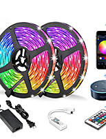 cheap -10M 2x5M WIFI Set Light Strip  Flexible LED Light Strips  RGB Strip Lights 300 LEDs SMD5050 10mm 1 24Keys Remote Controller  1 X 12V 6A Power Supply 1 set Color-changing IP20 APP Control