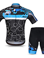 cheap -21Grams Men's Short Sleeve Cycling Jersey with Shorts Bule / Black Bike UV Resistant Quick Dry Sports Solid Color Mountain Bike MTB Road Bike Cycling Clothing Apparel / Stretchy