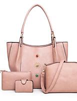 cheap -Women's Zipper PU Bag Set Solid Color 4 Pieces Purse Set Black / Brown / Light Coffee