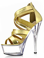 cheap -Women's Sandals Cone Heel Peep Toe Crystal PU Classic / Minimalism Summer Gold / Silver / Party & Evening