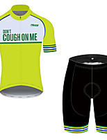 cheap -21Grams Men's Short Sleeve Cycling Jersey with Shorts Green Novelty Bike Clothing Suit UV Resistant Breathable 3D Pad Quick Dry Sweat-wicking Sports Solid Color Mountain Bike MTB Road Bike Cycling