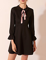 cheap -A-Line Jewel Neck Short / Mini Spandex Little Black Dress / Black Cocktail Party / Homecoming Dress with Bow(s) 2020