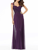 cheap -Sheath / Column Elegant Purple Wedding Guest Formal Evening Dress Sweetheart Neckline Sleeveless Floor Length Chiffon with Pleats Draping Appliques 2020