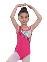 cheap -Gymnastics Leotards Girls' Kids Leotard Spandex High Elasticity Breathable Sparkly Sleeveless Training Ballet Dance Gymnastics Fuchsia