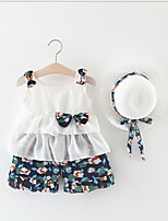 cheap -Baby Girls' Street chic Print Sleeveless Regular Clothing Set Blue