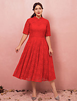 cheap -A-Line High Neck Tea Length Lace / Satin Chinese Style / Red Engagement / Cocktail Party Dress with Buttons 2020