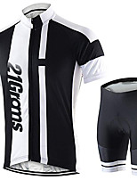 cheap -21Grams Men's Short Sleeve Cycling Jersey with Shorts Black / White Bike UV Resistant Quick Dry Sports Solid Color Mountain Bike MTB Road Bike Cycling Clothing Apparel / Stretchy