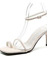 cheap -Women's Sandals Stiletto Heel Square Toe PU Spring & Summer Black / Red / Beige