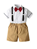 cheap -Toddler Boys' Basic Birthday Party Party & Evening Solid Colored Short Sleeve Regular Regular Clothing Set White