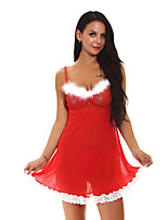 cheap -Women's Backless / Cut Out / Mesh Suits Nightwear Jacquard / Solid Colored Red S M L