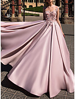 cheap -Ball Gown Illusion Neck Court Train Polyester Beautiful Back / Pink Engagement / Prom Dress with Appliques 2020