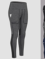 cheap -Women's High Waist Yoga Pants Winter Patchwork Solid Color Black Dark Blue Gray Mesh Running Fitness Gym Workout Tights Leggings Sport Activewear Quick Dry Butt Lift Tummy Control High Elasticity