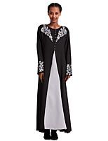 cheap -Women's Maxi Gold Silver Dress Abaya Color Block S M Loose
