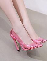 Недорогие -Жен. Обувь на каблуках На толстом каблуке Заостренный носок Искусственная кожа Ботинки Весна лето Розовый / Черный