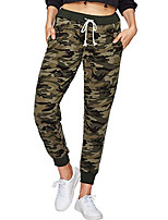 cheap -Women's Yoga Pants Drawstring Camo / Camouflage Dark Green Light Green Army Green Cotton Running Fitness Gym Workout Bottoms Sport Activewear Breathable Soft Stretchy