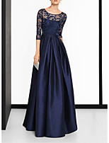 cheap -A-Line Scoop Neck Sweep / Brush Train Satin Elegant / Blue Wedding Guest / Formal Evening Dress with Split / Lace Insert 2020