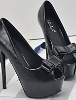 cheap -Women's Heels Stiletto Heel Peep Toe PU Spring & Summer Black / Silver