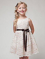 cheap -Princess Dress Flower Girl Dress Girls' Movie Cosplay A-Line Slip Cosplay Black / White / Beige Dress Halloween Carnival Masquerade Lace Polyester