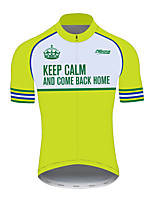 cheap -21Grams Men's Short Sleeve Cycling Jersey 100% Polyester Green / Yellow Bike Jersey Top Mountain Bike MTB Road Bike Cycling UV Resistant Breathable Quick Dry Sports Clothing Apparel / Stretchy