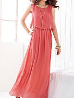 cheap -Women's Sheath Dress - Solid Color Maxi Black Purple Blushing Pink S M L XL