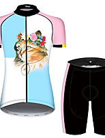 cheap -21Grams Women's Short Sleeve Cycling Jersey with Shorts Blue+Pink Cat Animal Bike Breathable Quick Dry Sports Cat Mountain Bike MTB Road Bike Cycling Clothing Apparel / Micro-elastic