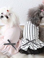 cheap -Dog Costume Dress Dog Clothes Breathable Pink White Costume Beagle Bichon Frise Chihuahua Cotton Stripes Bowknot Casual / Sporty Cute XS S M L XL