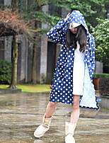 cheap -Women's Daily Long Trench Coat, Polka Dot Hooded Long Sleeve Polyester Blue / Red