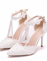 cheap -Women's Wedding Shoes Stiletto Heel Pointed Toe Pearl / Satin Flower / Buckle PU Business / Minimalism Spring &  Fall / Spring & Summer White / Party & Evening