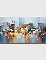cheap -Hand Painted Canvas Oilpainting Abstract Buildings by Knife Home Decoration with Frame Painting Ready to Hang