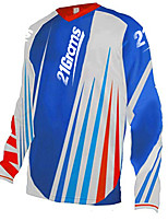 cheap -21Grams Men's Long Sleeve Cycling Jersey Downhill Jersey Dirt Bike Jersey 100% Polyester Blue / White Stripes Bike Jersey Top Mountain Bike MTB Road Bike Cycling UV Resistant Breathable Quick Dry